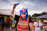 24 JULY 2021 - DES MOINES, IOWA: A person cheers during the World Wide Freedom Rally in Des Moines. More than 200 people showed up at the Iowa State Capitol Saturday for the World Wide Freedom Rally. The protesters called for governments everywhere to respect five important freedoms: Freedom of Speech, Movement, Choice, Assembly, and Health. Their main concern Saturday was Freedom of Health, which they said included the freedom to refuse vaccinations and the freedom to refuse to wear face masks, even during the time of airborne viruses.       PHOTO BY JACK KURTZ