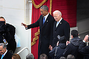 President Barack Obama and Vice President Joe Biden arrive for the President Inaugural Ceremony on Capitol Hill January 20, 2017 in Washington, DC. Donald Trump became the 45th President of the United States in the ceremony.