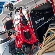 Leg 4, Melbourne to Hong Kong, day 05 on board MAPFRE, the only jacet on deck during the day, the bowman's one for the pillings. Photo by Ugo Fonolla/Volvo Ocean Race. 06 January, 2018.