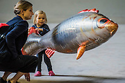 Olive, aged 3, with her mum and her fish she named Veronica - The Hyundai Commission 2016: Philippe Parreno in Tate Modern's Turbine Hall runs from 4 October 2016 to 2 April 2017. Philippe Parreno. Parreno is a French artist who creates kaleidoscopic environments and choreographed spaces, in which a series of unique events and experiences unfold. A key artist of his generation, his work uses sound, light, film, sculpture and technology.