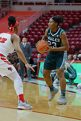 10 December 2017: Danielle Minott defended by Viria Livingston during an College Women's Basketball game between Illinois State University Redbirds and the Eagles of Eastern Michigan at Redbird Arena in Normal Illinois.