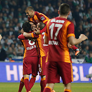 Galatasaray's Hamit Altintop celebrate his goal with team mate during their Turkish Super League soccer derby match Torku Konyaspor between Galatasaray at the Konya Buyuksehir Belediyesi Torku Arena at Selcuklu in Konya Turkey on Saturday, 13 December 2014. Photo by Kurtulus YILMAZ/TURKPIX