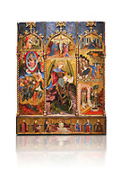 Gothic altarpiece tableau of the Archangel Gabriel  by Joan Mates of Vlafranca de Penedes, circa 1410-1430, tempera and gold leaf on for wood from the church of Santa Maria de Penafel, Alt Penedes, Spain.  National Museum of Catalan Art, Barcelona, Spain, inv no: MNAC  214533.  Against a white background. . .<br /> <br /> If you prefer you can also buy from our ALAMY PHOTO LIBRARY  Collection visit : https://www.alamy.com/portfolio/paul-williams-funkystock/gothic-art-antiquities.html  Type -     MANAC    - into the LOWER SEARCH WITHIN GALLERY box. Refine search by adding background colour, place, museum etc<br /> <br /> Visit our MEDIEVAL GOTHIC ART PHOTO COLLECTIONS for more   photos  to download or buy as prints https://funkystock.photoshelter.com/gallery-collection/Medieval-Gothic-Art-Antiquities-Historic-Sites-Pictures-Images-of/C0000gZ8POl_DCqE