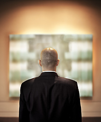 May 17, 2010 - View from behid of a businessman looking at a piece of art in a gallery. (Credit Image: © Mint Images via ZUMA Wire)