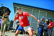 Don Pellmann, who is 100 years old, competes at the San Diego Senior Games at Mesa College in San Diego, California on Sunday, September 20, 2015.(Photo by Sandy Huffaker for The New York Times)