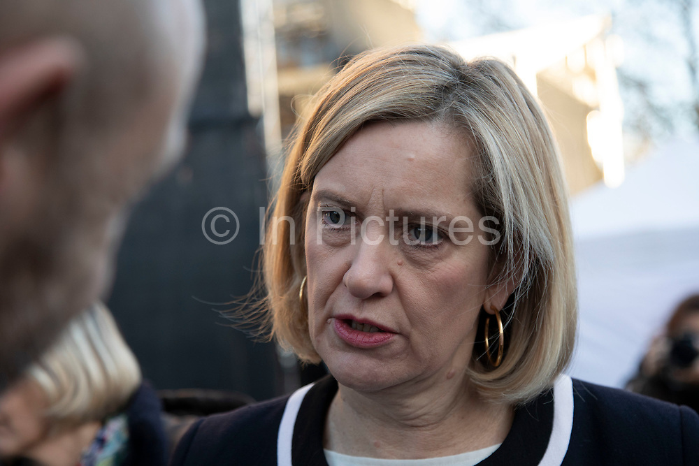 Amber Rudd MP, Secretary of State for Work and Pensions, gives an interview to the media on the day that Conservative Party MPs triggered a vote of no confidence in the Prime Minister on 12th December 2018 in London, England, United Kingdom.