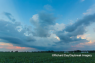 63893-03014 Passing storm clouds at sunset over agricultural field Marion Co. IL