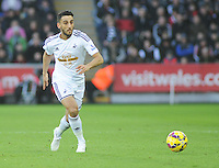 Swansea City's Neil Taylor in action during todays match  <br /> <br /> Photographer Kevin Barnes/CameraSport<br /> <br /> Football - Barclays Premiership - Swansea City v West Ham United - Saturday 10th January 2015 - Liberty Stadium - Swansea<br /> <br /> © CameraSport - 43 Linden Ave. Countesthorpe. Leicester. England. LE8 5PG - Tel: +44 (0) 116 277 4147 - admin@camerasport.com - www.camerasport.com