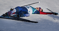 February 15, 2018 - Pyeongchang, MN, SKO - Jessie Diggins catches her breath at the end of the race in the women's 10km Free at Alpensia Cross-Country Centre on Feb. 15, 2018 during the Pyeongchang Winter Olympics. (Credit Image: © Carlos Gonzalez/TNS via ZUMA Wire)
