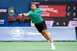 August 9, 2018 - Toronto, ON, U.S. - TORONTO, ON - AUGUST 09: Grigor Dimitrov (BUL) returns the ball during his third round match of the Rogers Cup tennis tournament on August 9, 2018, at Aviva Centre in Toronto, ON, Canada. (Photograph by Julian Avram/Icon Sportswire) (Credit Image: © Julian Avram/Icon SMI via ZUMA Press)