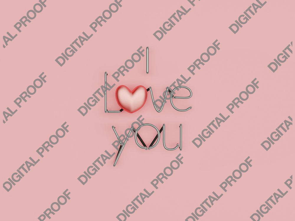 I Love You neon sign in off with glossy heart in studio over a pink background - 3d rendering concept
