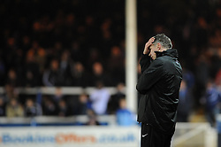 Peterborough United Manager, Darren Ferguson cuts a dejected figure at the end of the game after losing to Bristol City 1 - 2 - Photo mandatory by-line: Dougie Allward/JMP - Mobile: 07966 386802 11/03/2014 - SPORT - FOOTBALL - Peterborough - London Road Stadium - Peterborough United v Bristol City - Sky Bet League One