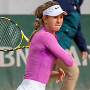 PARIS, FRANCE October 08.  Alexander Vecic of Germany  in action against Alina Charaeva of Russia in the Girls' Singles quarter-finals match during the French Open Tennis Tournament at Roland Garros on October 8th 2020 in Paris, France. (Photo by Tim Clayton/Corbis via Getty Images)