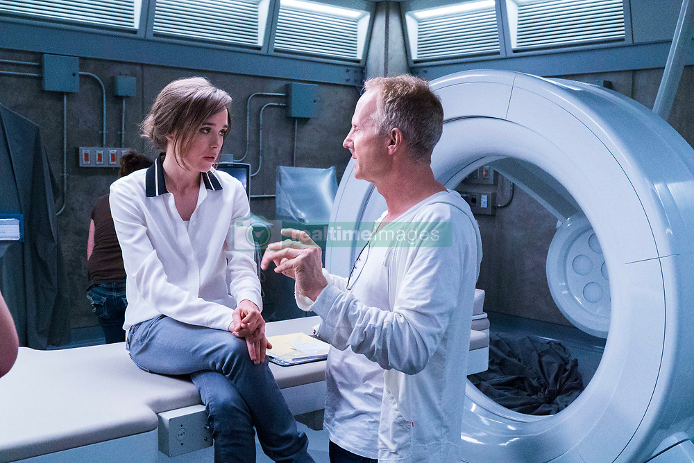 Director Niels Arden Oplev and Ellen Page in the Bunker Complex-Imaging Room on set of Columbia Pictures' FLATLINERS.