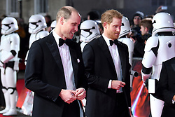The Duke of Cambridge and Prince Harry attending the european premiere of Star Wars: The Last Jedi held at The Royal Albert Hall, London. Photo credit should read: Doug Peters/EMPICS Entertainment