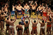 Sumo wrestling event Ryogoky stadium Tokyo performing the ring entering ceremony