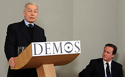 Frank Field Labour MP for Birkenhead joins the Leader of the Conservative Party David Cameron by givinga speech at Demos also with Camila Batmanghelidjh, Founder and Director of Kids Company, London, Monday January 11, 2010. Photo By Andrew Parsons / i-Images.