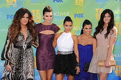 L-R Khloe Kardashian, Kendall Jenner, Kim Kardashian, Kylie Jenner and Kourtney Kardashian attending the 2011 Teen Choice Awards held at the Gibson Amphitheater in Universal City, Los Angeles, CA, USA on August 07, 2011. Photo by Graylock/ABACAPRESS.COM  | 285366_041
