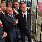 LONGARONE, ITALY - OCTOBER 09: Mayor of Longarone (L),Ê President of Senato Pietro Grasso (C) and Luca Zaia (R) inside the memorial for the Vajont victims on October 9, 2013 in Longarone, Italy. Today is the 50th anniversary of the Vajont disaster, which occurred on 9th October 1963, and is the worst landslide disaster in European history with 2000 people killed.  (Photo by Marco Secchi/Getty Images)