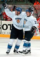 ◊Copyright:<br />GEPA pictures<br />◊Photographer:<br />Andreas Troester<br />◊Name:<br />Hentunen<br />◊Rubric:<br />Sport<br />◊Type:<br />Eishockey<br />◊Event:<br />IIHF Eishockey WM 2005, Finnland vs Daenemark, FIN vs DEN<br />◊Site:<br />Innsbruck, Austria<br />◊Date:<br />30/04/05<br />◊Description:<br />Jubel mit Jukka Hentunen (FIN)<br />◊Archive:<br />DCSTR-3004051851<br />◊RegDate:<br />30.04.2005<br />◊Note:<br />8 MB - BG/BK - Nutzungshinweis: Es gelten unsere Allgemeinen Geschaeftsbedingungen (AGB) bzw. Sondervereinbarungen in schriftlicher Form. Die AGB finden Sie auf www.GEPA-pictures.com. Use of pictures only according to written agreements or to our business terms as shown on our website www.GEPA-pictures.com