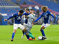 Football - 2019 / 2020 Championship - Cardiff City vs Blackburn Rovers<br /> 				<br /> Adam Armstrong Blackburn Rovers pushed by Sean Morrison of Cardiff City<br /> in a match played with no crowd due to Covid 19 coronavirus emergency regulations, at the almost empty Liberty Stadium.<br /> <br /> COLORSPORT/WINSTON BYNORTH