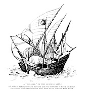 A ' Caravel ' Of The Genoese 15th-16th century Style From the Book '  Britain across the seas : Africa : a history and description of the British Empire in Africa ' by Johnston, Harry Hamilton, Sir, 1858-1927 Published in 1910 in London by National Society's Depository