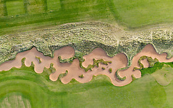 Aerial view of bunker on  Fidra Links golf course at Archerfield Links golf club  in East Lothian, Scotland , UK