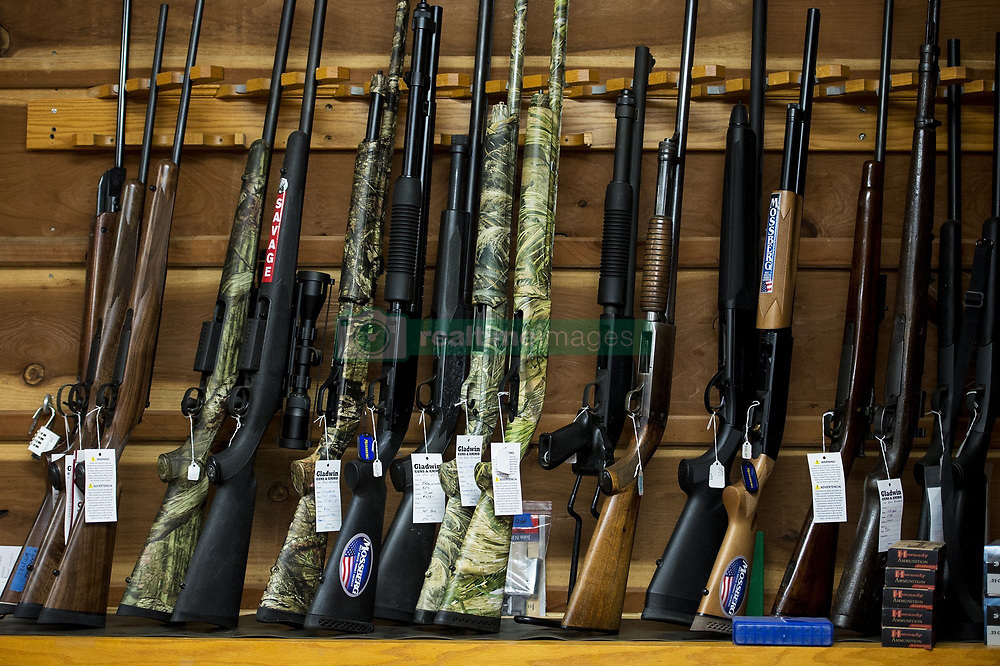 June 27, 2017 - Guns for sale at Gladwin Guns and Ammo, located at 6493 E. Olive Ave., in Merced, Calif., on Tuesday, June 27, 2017. Owner Blair Gladwin is suing money transfer services PayPal, Stipe and Square who have refused to work with him, alleging discrimination against his business which sells firearms as a licensed retailer by the federal government. (Credit Image: © Andrew Kuhn/The Merced Sun Star via ZUMA)