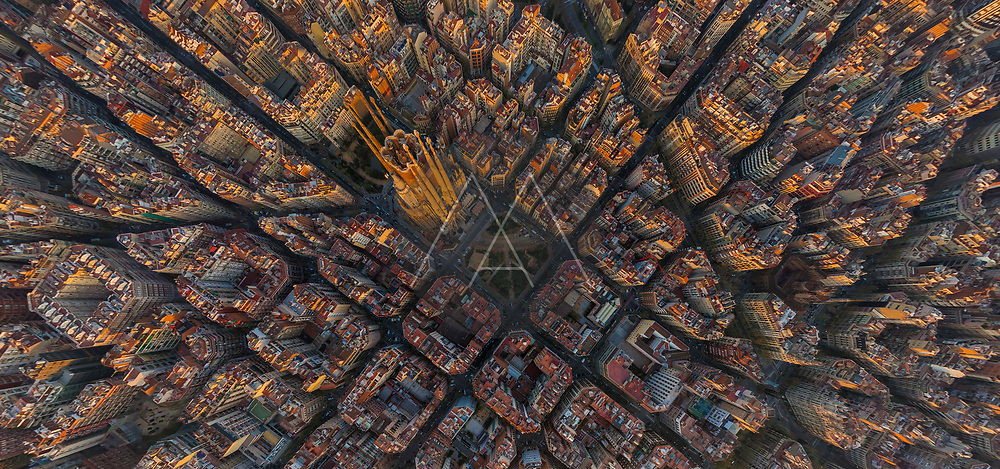 Aerial image of Sargrada Familia, Barcelona, Spain