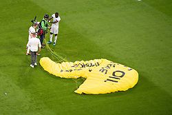 A Greenpeace protester is seen flying into the stadium prior to the UEFA Euro 2020 Championship Group F match between France and Germany at Allianz Arena, on June 15, 2021 in Bavaria, Munich, Germany. Photo by David Niviere/ABACAPRESS.COM