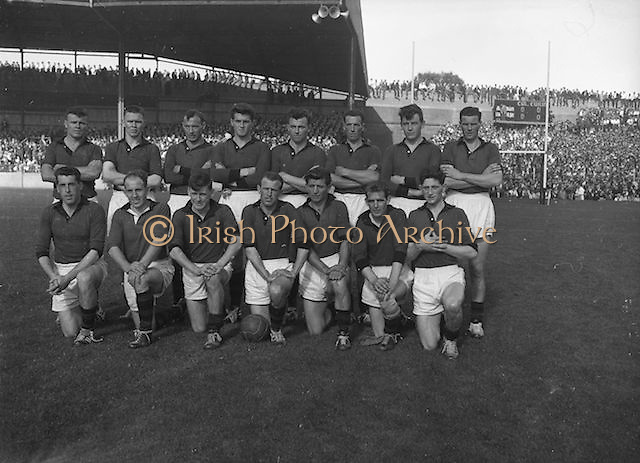 The Down team before the All Ireland Senior Gaelic Football Final, Down v. Offaly in Croke Park on the 24th September 1961.Down 3-6 Offaly 2-8. <br /> Back row (from left) S MacCartan, A Haddon, J Lennon, L Murphy, P J McElroy, J Smith, D MacCartan, P Rice. <br /> Front row (from left) J Carey, B Morgan, J O'Neill, P Doherty, G Lavery, E McKay, P O'Hagan.