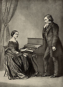 Robert Schumann (1810-1856) German Romantic composer with his wife Clara (born Wieck). From a photograph. Halftone.