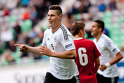 Niklas Suele of Germany celebrates his goal for Germany during the UEFA European Under-17 Championship Group A semifinal match between Germany and Poland on May 13, 2012 in SRC Stozice, Ljubljana, Slovenia. Germany defeated Poland 1:0. (Photo by Matic Klansek Velej / Sportida.com)