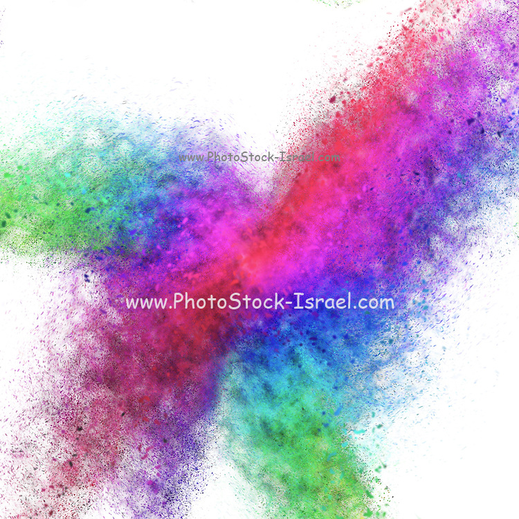 Colourful exploding abstract in green, red, blue and purple