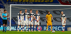 CARDIFF, WALES - Wednesday, November 18, 2020: Finland's Robin Lod, Paulus Arajuuri, Daniel O'Shaughnessy and Rasmus Schüller form a defensive wall during the UEFA Nations League Group Stage League B Group 4 match between Wales and Finland at the Cardiff City Stadium. Wales won 3-1 and finished top of Group 4, winning promotion to League A. (Pic by David Rawcliffe/Propaganda)