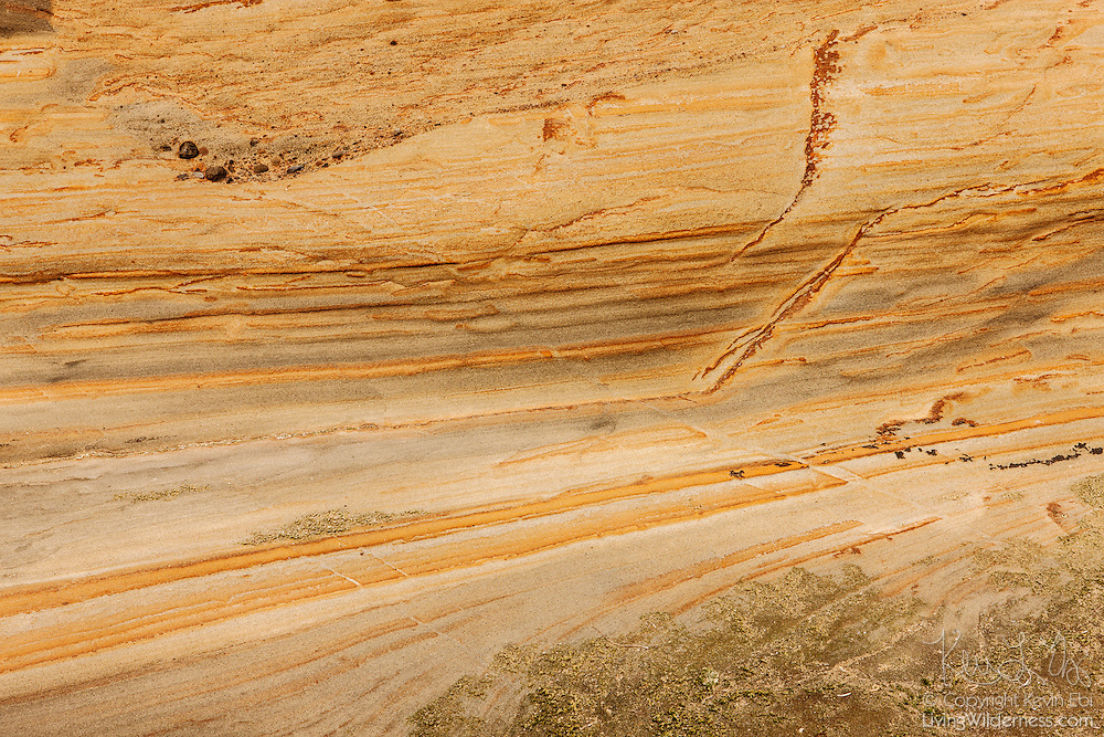 Repeated force from Pacific Ocean waves reveals distinct layers of sandstone that make up the cliffs of Cape Kiwanda on the central Oregon coast.