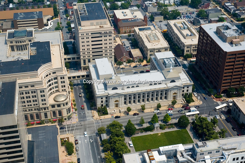 Aerial views of the Original Wilmington Courthouse on King Street,  Bank of America Headquarters