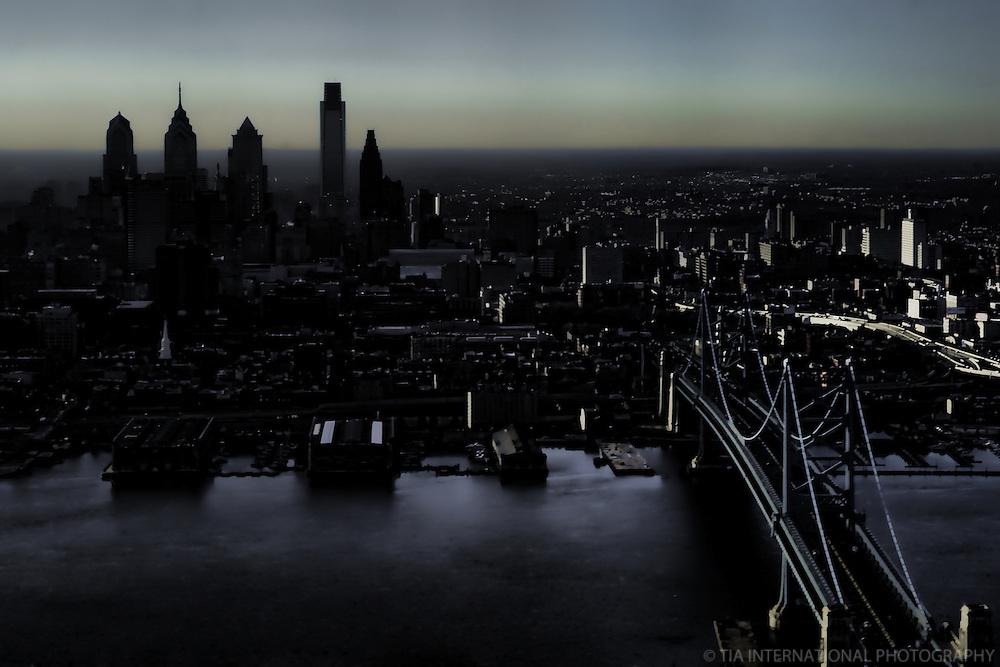 Aerial View, Center City & Ben Franklin Bridge