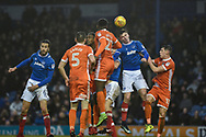 Portsmouth Forward, Oliver Hawkins (9) wins a header during the EFL Sky Bet League 1 match between Portsmouth and Shrewsbury Town at Fratton Park, Portsmouth, England on 27 January 2018. Photo by Adam Rivers.