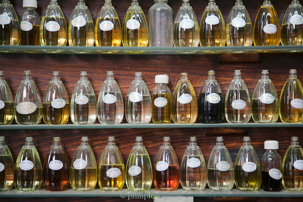 Perfumes and fragrances in a stall in a souq in the Old City in Damascus, Syria