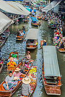 Bangkok, Thailand - December 30, 2013: people at Amphawa Bangkok floating market at Bangkok, Thailand on december 30th, 2013