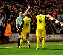 Watford's Gabriele Angella gets red carded.  - Photo mandatory by-line: Alex James/JMP - Tel: Mobile: 07966 386802 18/01/2014 - SPORT - FOOTBALL - Goldsands Stadium - Bournemouth - Bournemouth v Watford - Sky Bet Championship