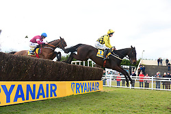 Al Boum Photo ridden by David Mullins clear the 5th fence on their way to winning the Ryanair Gold Cup Novice Chase during Ryan Air Gold Cup Day of the 2018 Easter Festival at Fairyhouse Racecourse, Ratoath, Co. Meath.