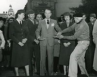 1952 Clifton Webb's hand/footprint ceremony at the Chinese Theater