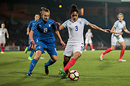 Demi Stokes (England) (Manchester City) is blocked from turning by Aurora Galli (Italy) (Verona) during the Women's International Friendly match between England Ladies and Italy Women at Vale Park, Burslem, England on 7 April 2017. Photo by Mark P Doherty.