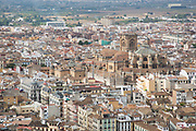 View from the Alhambra Palace and fortress complex located in Granada, Andalucia, Spain, looking out across to the south of the city towards the Cathedral.