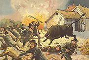 Farmer's wife letting out a bull to frighten off agricultural workers attacking a farm, c1830. Rick burning and machine wrecking widespread at this time as workers were afraid that threshing machines and other developments would depress wages and destroy jobs. Chromolithograph 1880s.