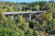 Modern bridge crossing steep gorge, Aldeanueva de la Vera, Extremadura, Spain