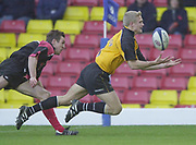 Watford, Hertfordshire, 08.12.2001, Zurich Premiership Rugby,  Newcastle's Micheal Stephenson catch's his own chip, to touch down, for Newcastles second, during the, Saracens vs Newcastle Falcons, match played at, Vicarage Road, <br /> [Mandatory Credit: Peter Spurrier/Intersport images]