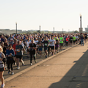 Runners in the 2015 Credit Union Cherry Blossom 10 Mile Run pass over Arlington Memorial Bridge, with the Lincoln Memorial in the background. The Cherry Blossom 10-Miler (formally the Credit Union Cherry Blossom 10 Mile Run) is held each spring during the National Cherry Blossom Festival and attracts tends of thousands of runners.